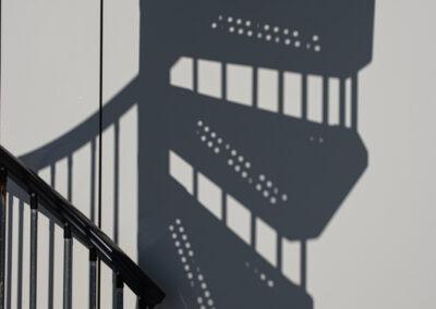 De trap op het Reddingsbrigade paviljoen Petten
